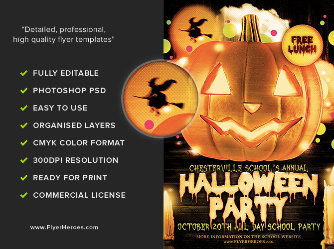 Halloween Party Flyer Template 4.15 - The Pumpkin - FlyerHeroes