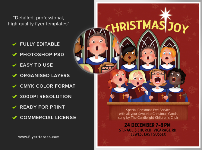 Christmas Choir Flyer Template Flyerheroes