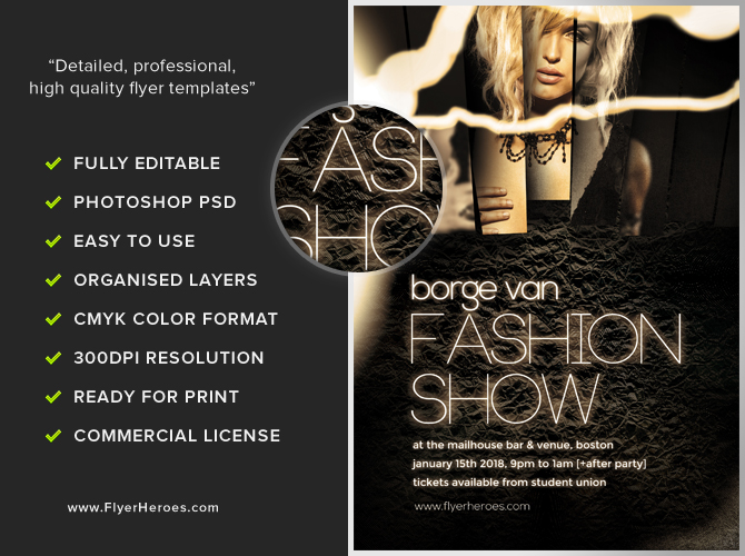 Fashion show flyer template flyerheroes for Fashion flyers templates for free