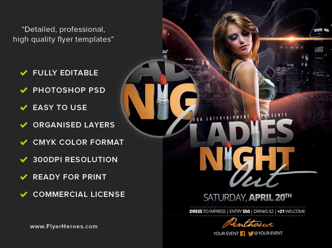 ladies night out club flyer - photo #11