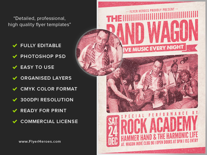 The Band Wagon Flyer Template FlyerHeroes – Band Flyer Template