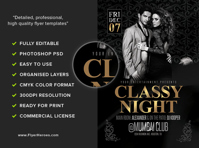 Classy Nights Flyer Template - FlyerHeroes
