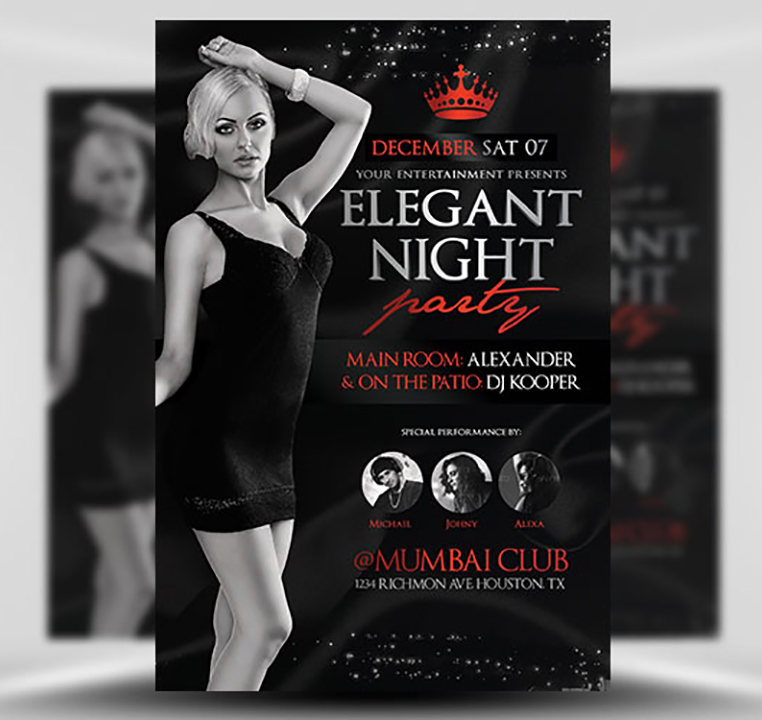 Elegant Night Party Flyer Template - FlyerHeroes