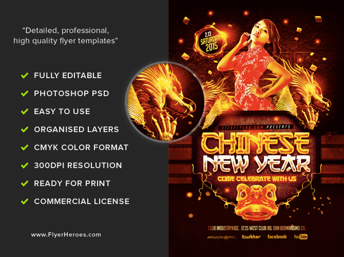 chinese new year flyer template flyerheroes