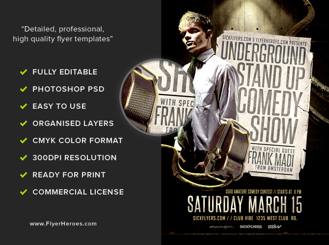 Comedy Show Flyer Template FlyerHeroes – Comedy Show Flyer Template
