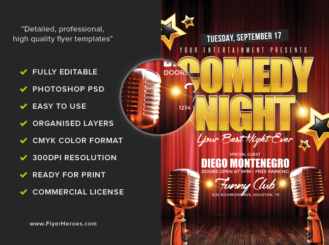 Comedy Night Flyer Template FlyerHeroes – Comedy Show Flyer Template