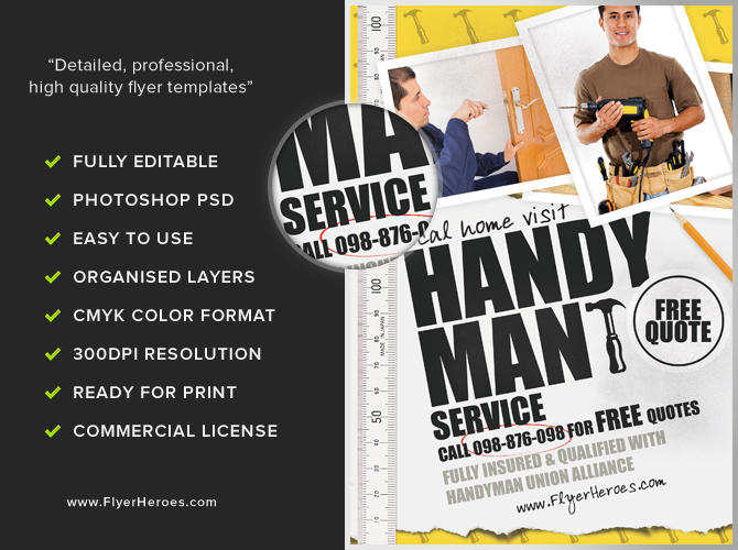 handyman flyer template flyerheroes. Black Bedroom Furniture Sets. Home Design Ideas