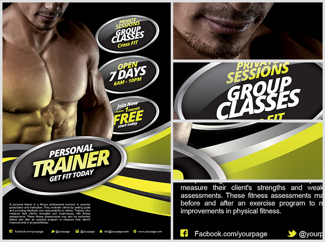 Marvelous Fitness Flyer Template  Free Fitness Flyer Templates
