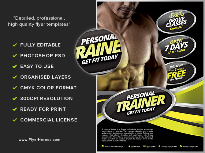 personal fitness flyer template flyerheroes. Black Bedroom Furniture Sets. Home Design Ideas