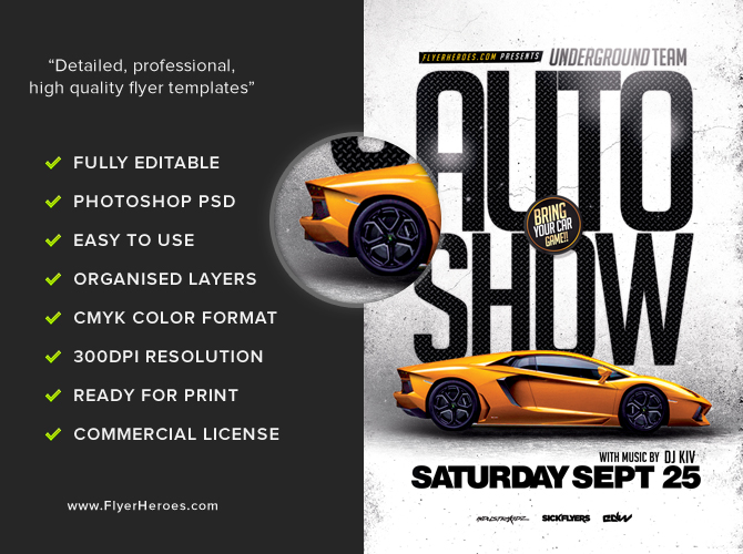 Auto Show Flyer Template FlyerHeroes – Car Flyers