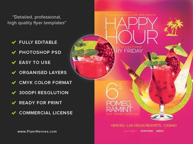 Minimal Happy Hour Flyer Template Flyerheroes