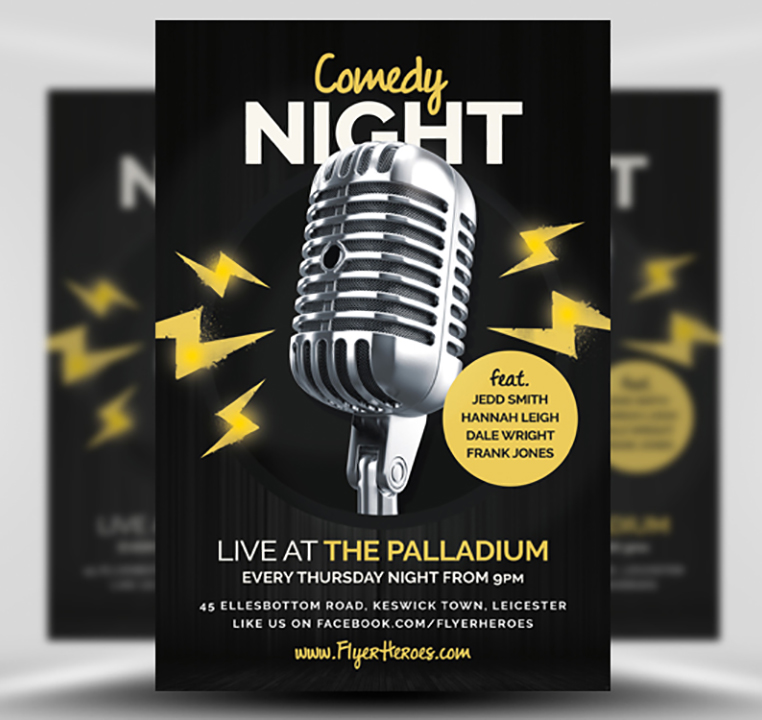 Open Mic / Comedy Night Flyer Template - FlyerHeroes