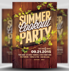 Summer Cookout Party Flyer Template 1