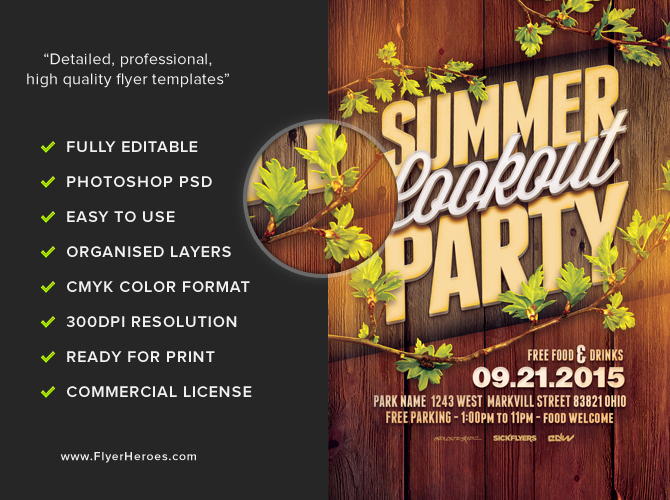 Summer cookout party flyer template flyerheroes for Cookout flyer templates