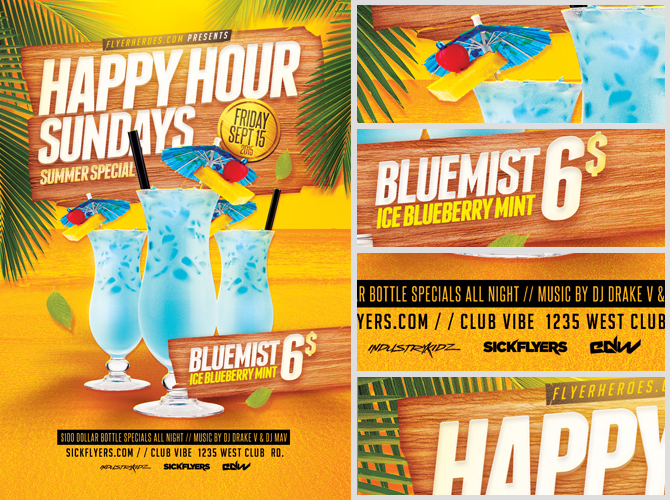 Summer Happy Hour Flyer Template Flyerheroes