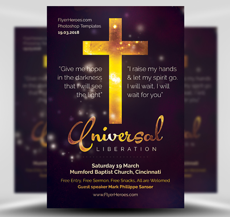 universal liberation church flyer template flyerheroes. Black Bedroom Furniture Sets. Home Design Ideas