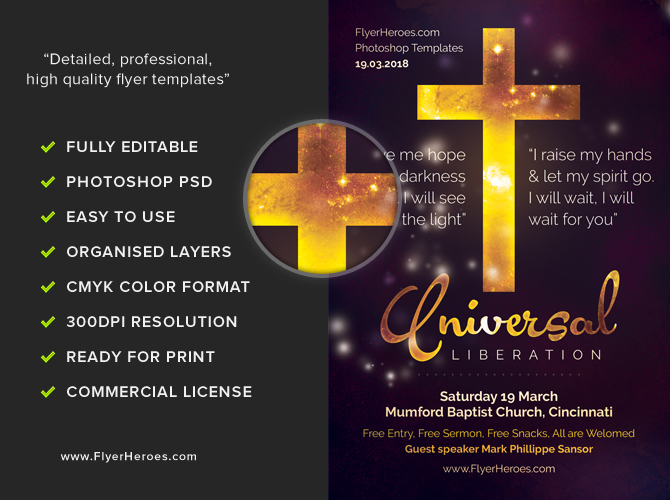 Universal liberation church flyer template flyerheroes for Religious flyers template free