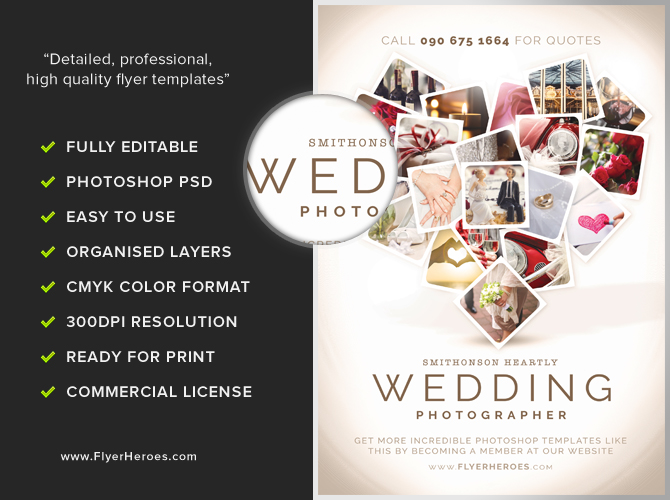 Wedding Photographer Flyer Template - FlyerHeroes