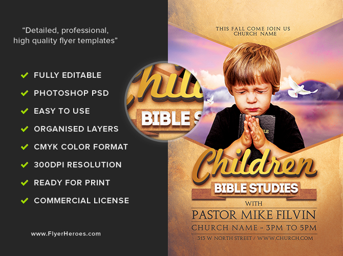 Bible studies flyer template flyerheroes for Research study flyer template