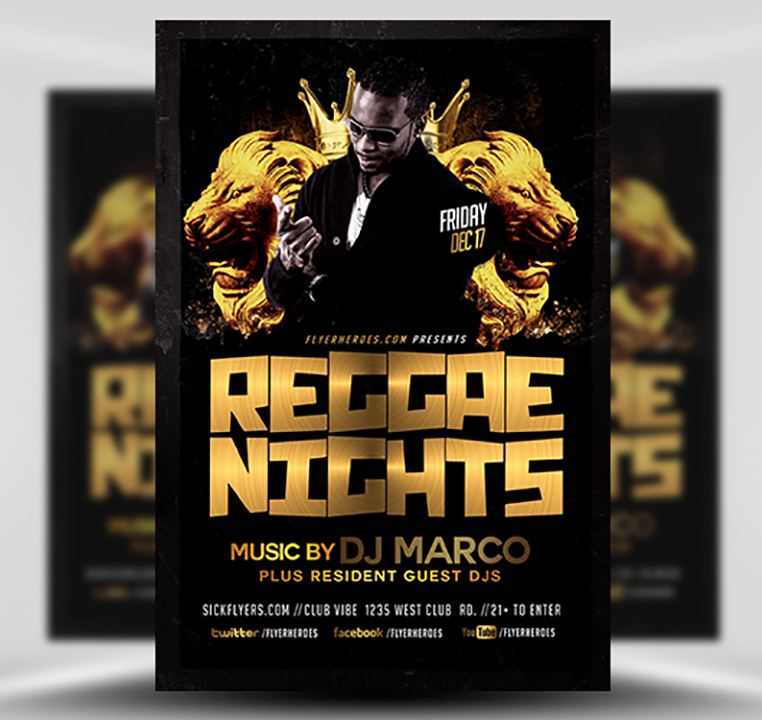 Black and Gold Reggae Flyer Template - FlyerHeroes