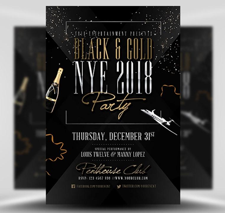 Black Gold NYE Flyer Template FlyerHeroes – Black Flyer Template