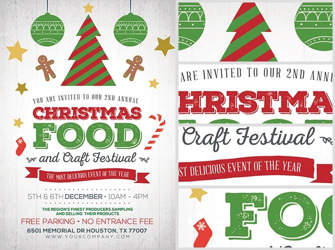 Christmas Food Crafts Festival Flyer Template Flyerheroes