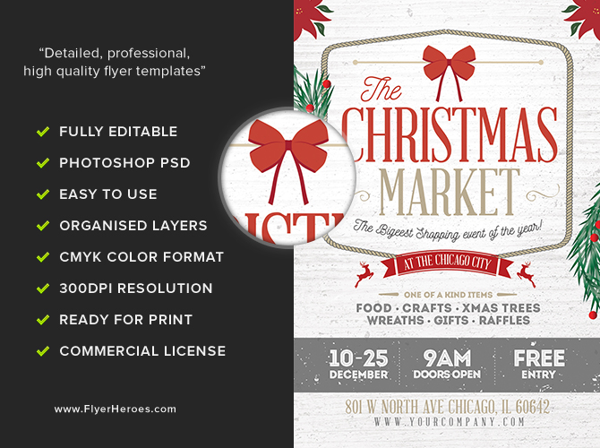Rustic christmas flyer template flyerheroes for Christmas brochure template