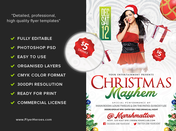 Christmas Mayhem Flyer Template - Flyerheroes