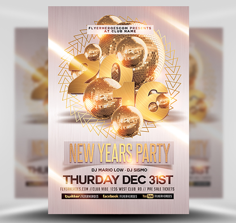 New Year Party Flyer Template 2 - Flyerheroes