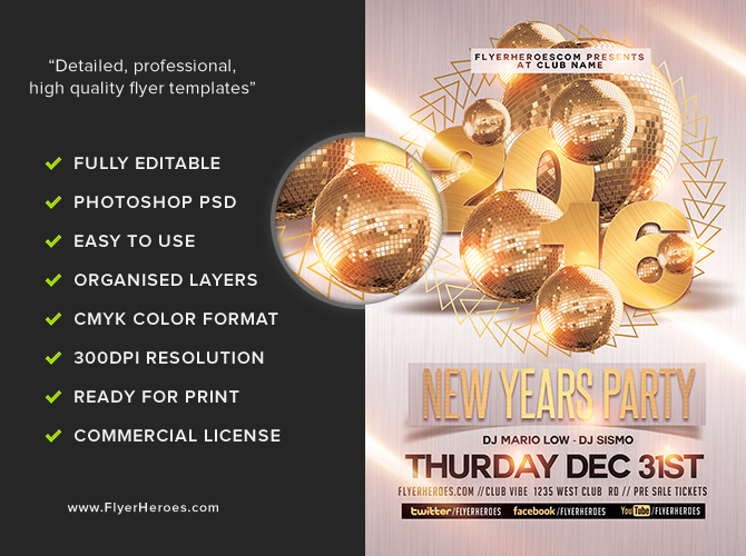 New Year Party Flyer Template 2 FlyerHeroes – New Year Party Flyer Template