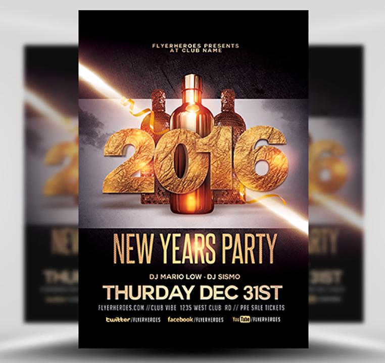 New Year Party Flyer Template - Flyerheroes