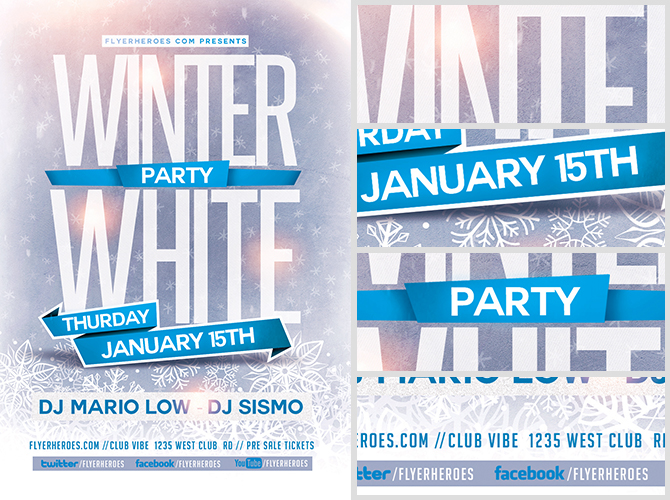 Winter White Party Flyer Template FlyerHeroes – Winter Flyer Template