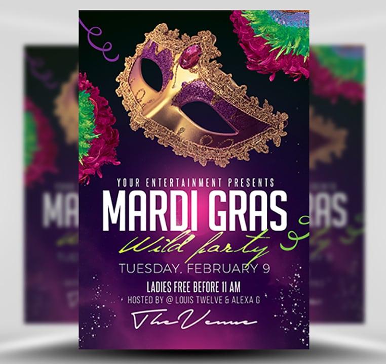 Mardi Gras Flyer Template from flyerheroes.com