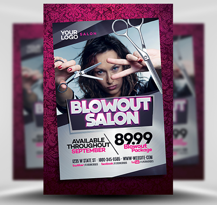 Blowout Hair Salon Flyer Template - FlyerHeroes