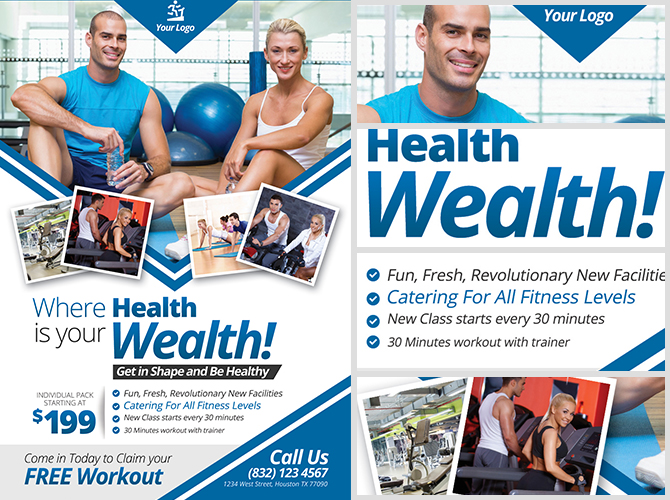 Fitness Flyer Template Fitness Brochure Template Free Vector