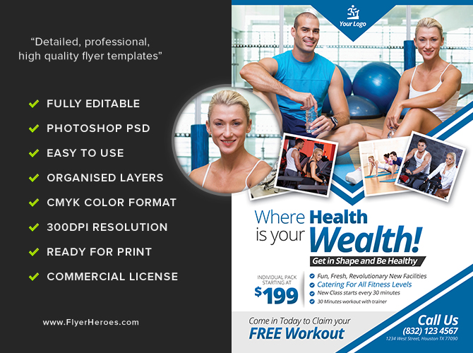 Fitness Flyer Template FlyerHeroes – Fitness Flyer Template