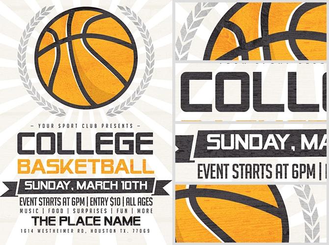 Illustrated Basketball Flyer Template - FlyerHeroes