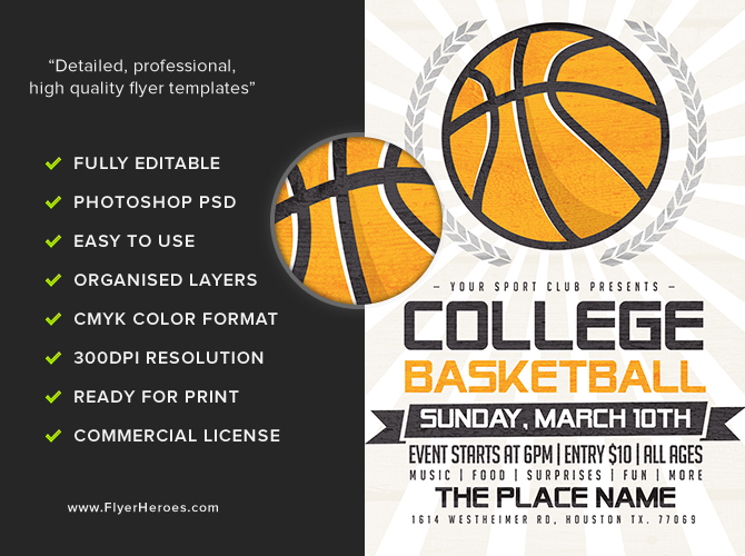 Illustrated basketball flyer template flyerheroes for Basketball flyer template free