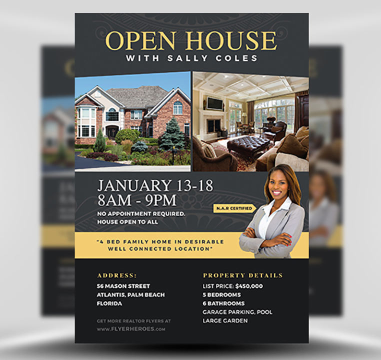 Open House Flyer Template 2 FlyerHeroes – Real Estate Open House Flyer Template