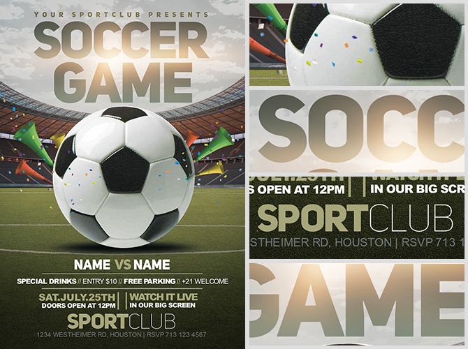 Soccer Game Flyer Template 2 FlyerHeroes – Soccer Flyer Template