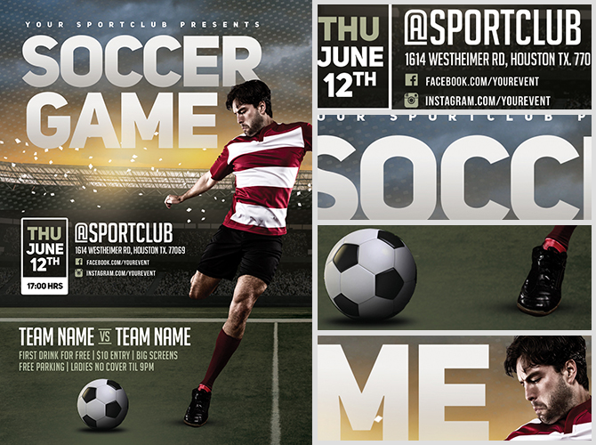 Soccer Game Flyer Template - FlyerHeroes