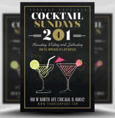 Cocktail Sundays Flyer  Template 1