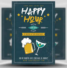 Happy Hour Beers and Cocktails Flyer Template 1