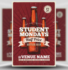 Student Mondays Bottles Flyer Template 1
