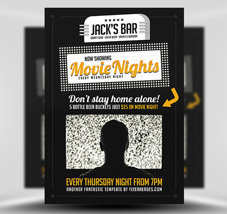 Movie Nights Flyer Template V  Flyerheroes