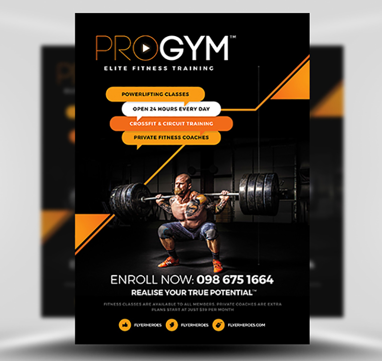 PRO Gym Fitness Flyer Template - FlyerHeroes