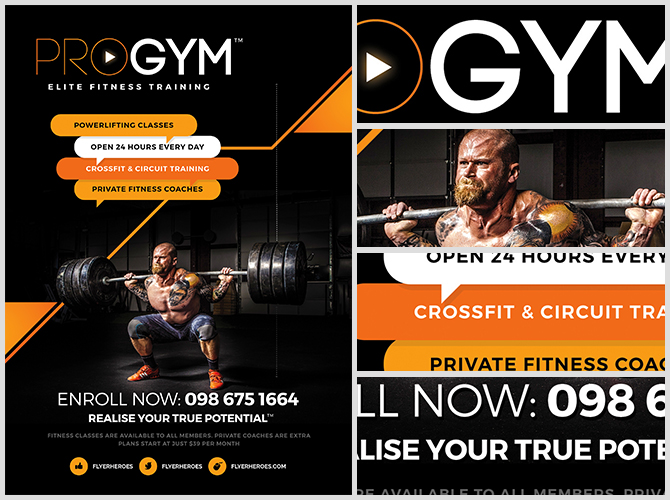 PRO Gym Fitness Flyer Template FlyerHeroes – Fitness Flyer