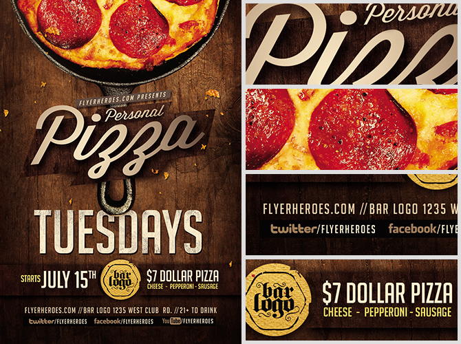 pizza tuesdays flyer template flyerheroes. Black Bedroom Furniture Sets. Home Design Ideas