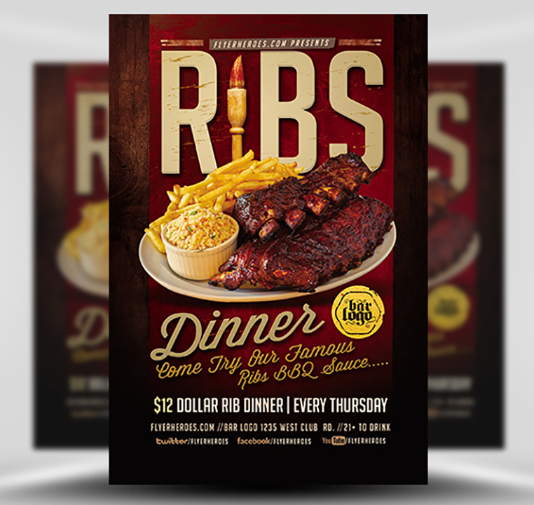 Ribs Dinner Flyer Template FlyerHeroes – Dinner Flyer