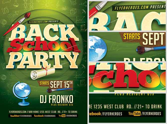 Back To School Party Flyer Template V5 - Flyerheroes